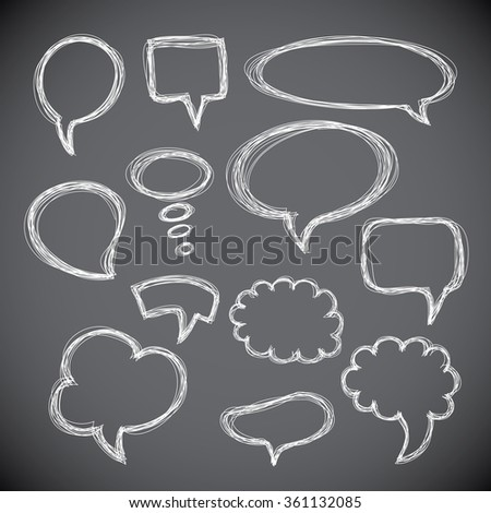 Set of hand-drawn speech and thought bubbles on gray background. .