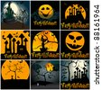 Set of hand drawn style cute Halloween illustrations - stock vector