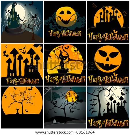 Set of hand drawn style cute Halloween illustrations - stock photo