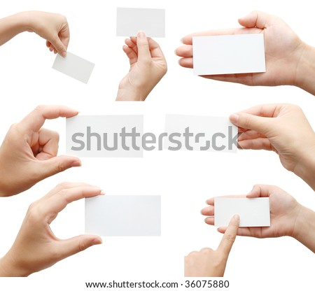 Set of hand holding an empty business card over white - stock photo