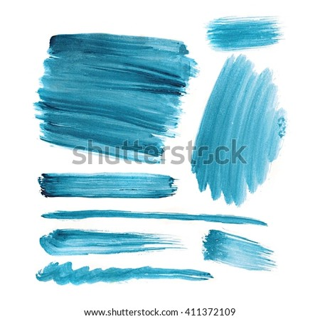 Set of hand-painted brush strokes. watercolor stripes isolated on white background. Abstract watercolor art hand painted background. Watercolor stains. colorful vintage water colour texture.  - stock photo