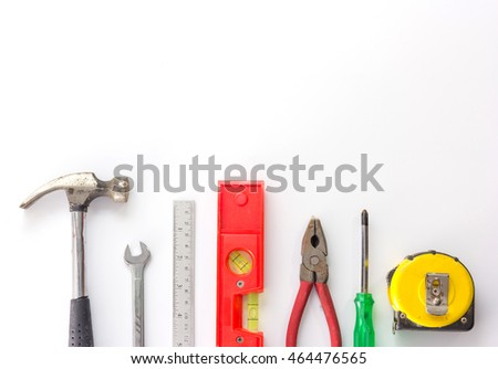 Set of hand tools isolated on a white background,close up