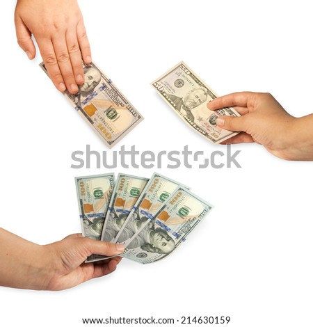 Set of hand with dollar - stock photo