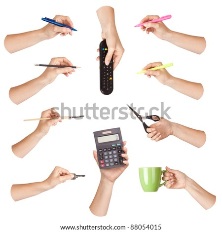 Set of hand with office tool, isolated - stock photo