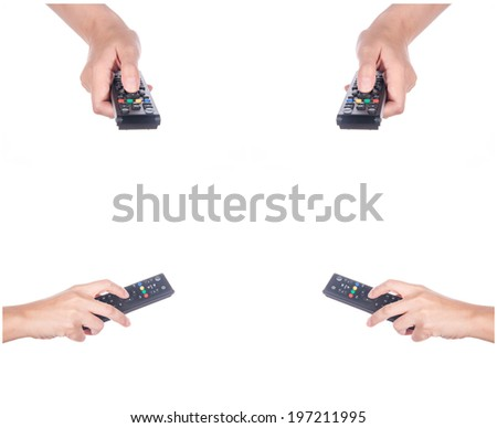 Set of hand with remote control on white - stock photo