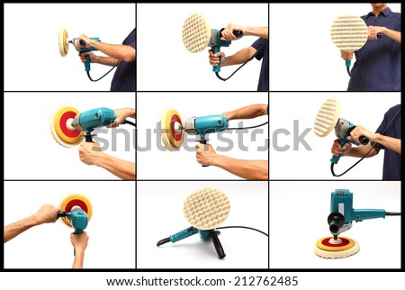 Set of hands hold machine polishing for car care, isolated on white background - stock photo