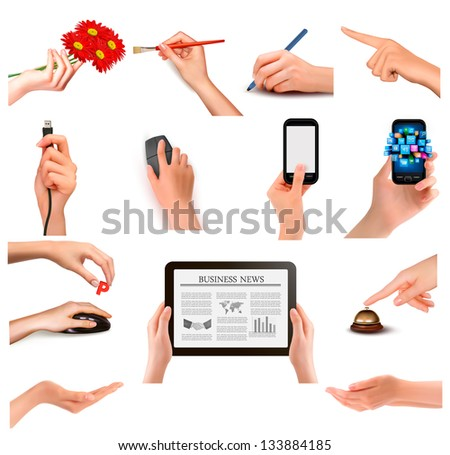 Set of hands holding different business objects. Raster version of vector - stock photo