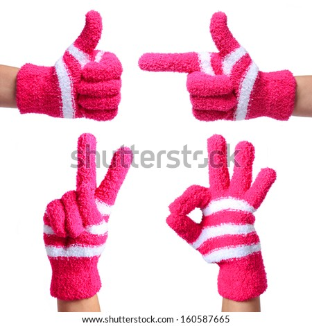 Set of Hands in Knitted Gloves isolated on white. Thumb Up, Pointing, Victory, Ok Sign - stock photo