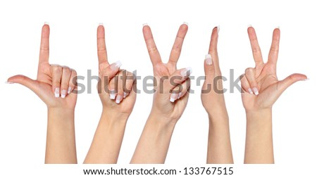 set of hands of a caucasian female, isolated on white - stock photo