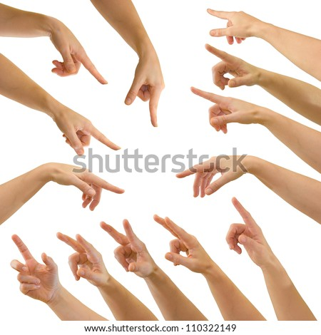 Set of hands of a caucasian female pointing or pressing a button or on a touch screen interface, isolated on white