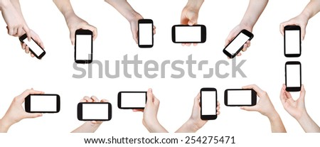 set of hands with mobile phones with cut out screen isolated on white background - stock photo