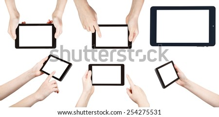 set of hands with tablet pc isolated on white background