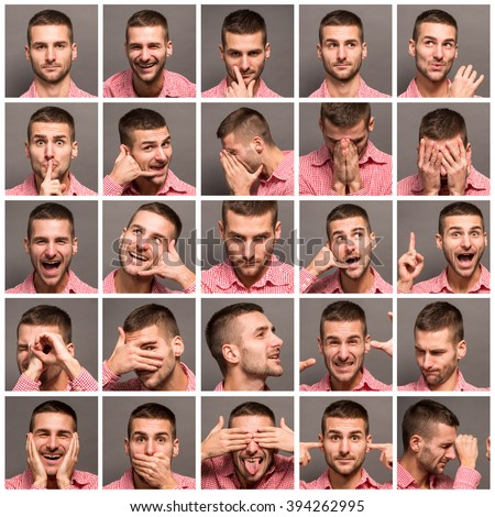 Set of handsome emotional man over grey background. Mosaic of young man expressing different emotions. Model man with different facial expressions.