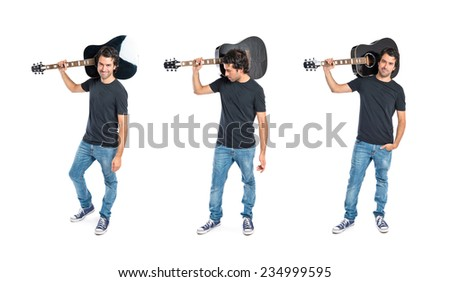 Set of Handsome man with guitar over white background