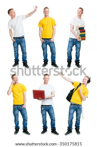 Set of handsome school boy having fun on isolated background.