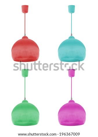 Set of hanging lamp, isolated on white background.  - stock photo
