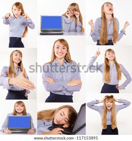set of happy busineswoman - stock photo