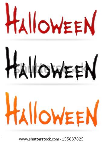 set of Happy Halloween words - stock photo