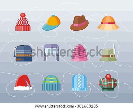 Set of hat flat design collection. Woman hat, hat isolated, fashion hat, ladies hat, hat fashion, accessory clothing hat wear hat, christmas hat, retro vintage woman hat, elegance hat illustration - stock photo