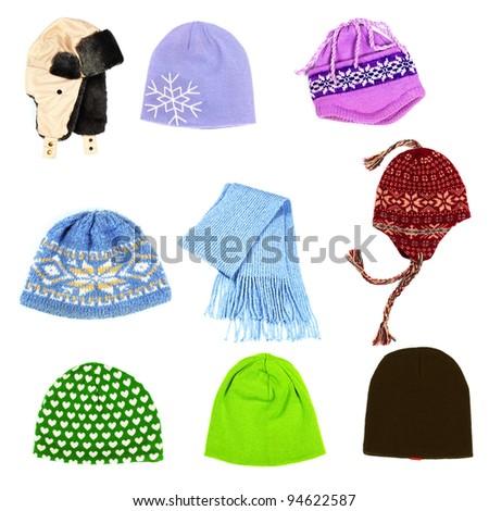 Set of hats isolated on white background. Clothing. - stock photo