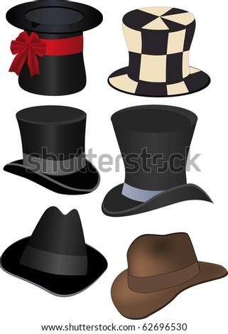 Set of hats. Raster version - stock photo