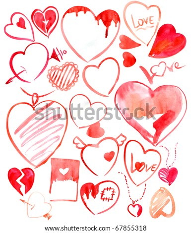 Set of hearts. - stock photo