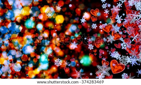 Set of hearts and snowflakes with a colored bokeh backdrop as a symbol of romantic love for the congratulations on Valentine's Day in february and winter weddings. Abstract horizontal background. - stock photo