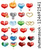 Set of hearts icon by day of ST. Valentine - stock vector