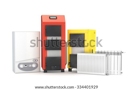 Set of heating system objects. Solid fuel boiler, boiler and radiators for heating on white background.