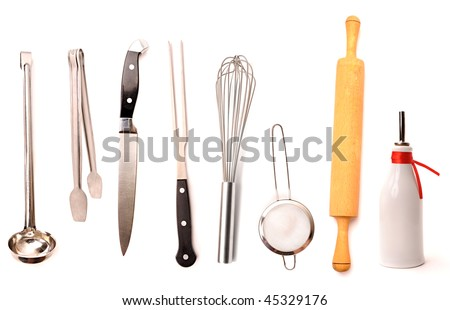 Set of high quality kitchen utensils isolated on white - stock photo