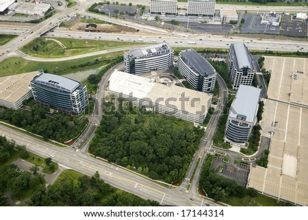Set of high-rise buildings near an expressway - stock photo