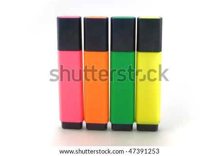 set of highlighters on white background - stock photo