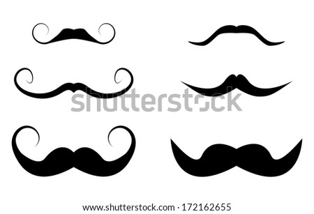 Set of hipster mustache. Creative hipster design. - stock photo