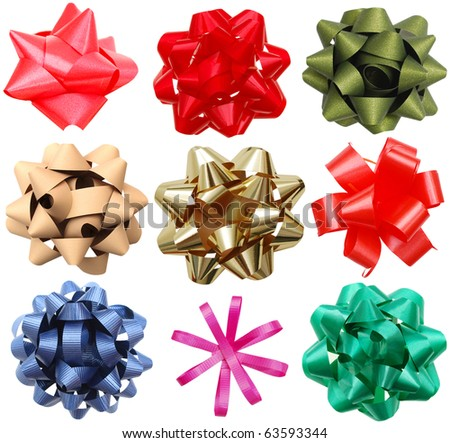 Set of holiday bows collection - stock photo