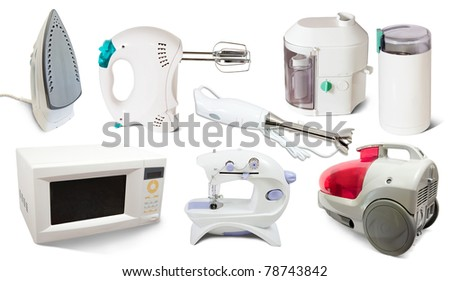 Set of  home  appliance. Isolated on white background - stock photo