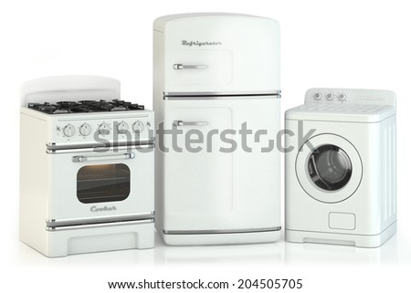 Set of home retro appliances isolated on white background - stock photo