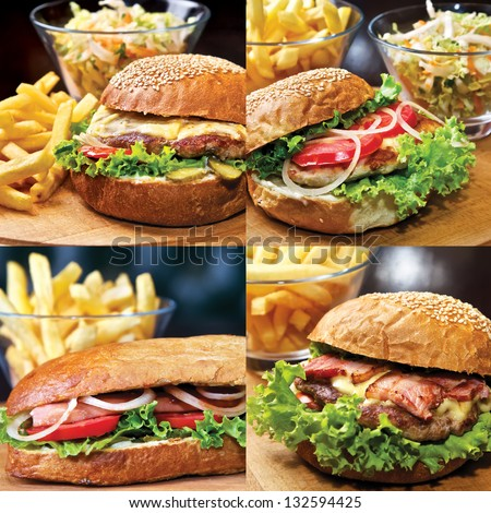 Set of Homemade Beef burger. Beef, cheese, tomatoes, onion, green salad, tabasco sauce and french fries and other food - stock photo