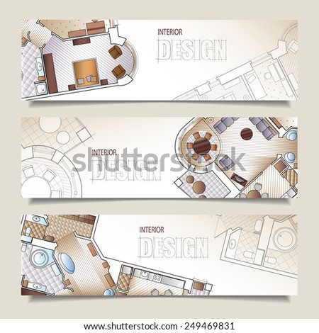 Set of horizontal banners with parts of detailed architectural plan and flat projection with furniture. Background for design of interiors. - stock photo