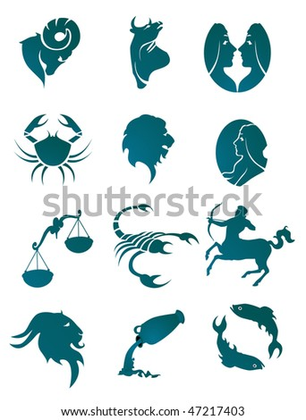 Set of horoscope symbols for design isolated on white. Vector version is also available - stock photo