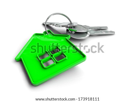 Set of house keys on a green house shaped keyring isolated on white. Concept for owning, buying or getting a bond or mortgage for your new home and becoming a home owner. - stock photo