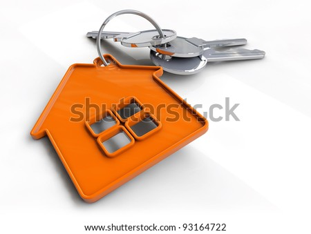 Set of house keys on a orange house shaped keyring isolated on white. Concept for owning, buying or getting a bond or mortgage for your new home and becoming a home owner. - stock photo