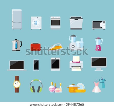 Set of household appliances design flat. Appliances household, household items, washing machine, kitchen appliances, appliance home, machine and equipment, refrigerator and microwave illustration - stock photo