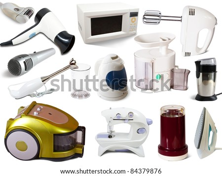 Set of  household appliances. Isolated on white background - stock photo