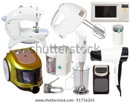 Set of  household appliances. Isolated on white background with clipping path - stock photo