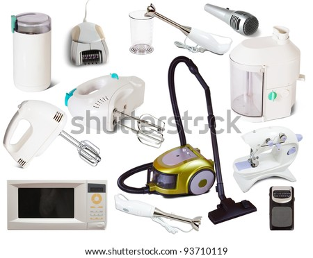 Set of  household appliances. Isolated on white background with shadows - stock photo