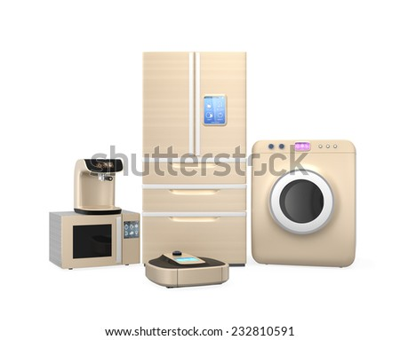 Set of household appliances on white background - stock photo