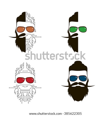 Set of human individuals hipster. a person who lives in social networks and the Internet. Modern man, follower of new technologies and fashion. The person in the form of electronic circuit - stock photo