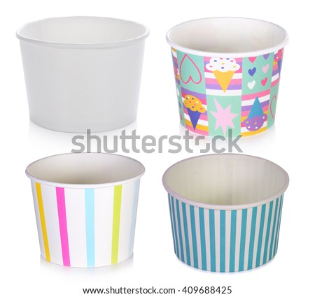 set of ice cream paper cups on white background - stock photo