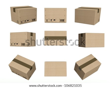 Set of icons, closed cardboard boxes isolated on white background - stock photo