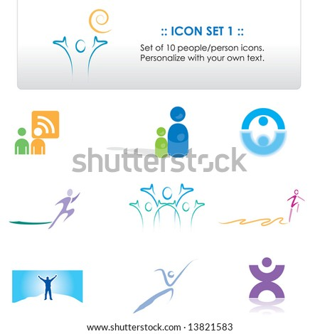 Set of 10 icons / elements that can be personalized with your own text (Icon Set 1) - stock photo